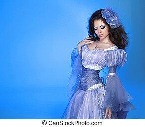 mode, beauty, portrait., mooi, meisje, model, vrouw, vervelend, chiffon, jurkje, op, blue.