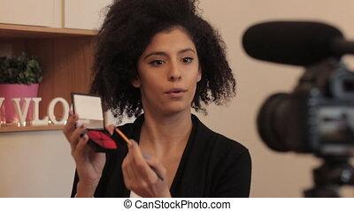 mode, blogger, maquillage, eplainer, enregistrement, vidéo