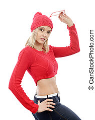 mode, blond, femme, à, chandail rouge
