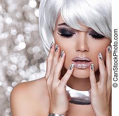 mode, blond, girl., schoenheit, porträt, woman., weißes, kurz, hair., freigestellt, auf, blinken, weihnachten, hintergrund., gesicht, close-up., manicured, nails., mode, style.