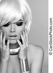 mode, blond, girl., schoenheit, porträt, woman., weißes, kurz, hair., schwarz weiß, photo., fringe., mode, style.