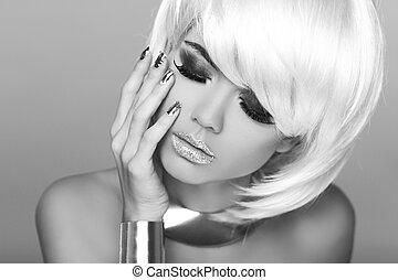 mode, blond, girl., skönhet, stående, woman., vit, kort, hair., svartvitt, photo., fringe., mod, style.