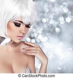 mode, blonde , girl., beauty, verticaal, woman., makeup., witte , kort, hair., vrijstaand, op, het knipperen, kerstmis, achtergrond., gezicht, close-up., manicured, nails., mode, style.