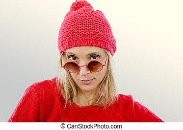 mode, blondin, kvinna, med, röd tröja