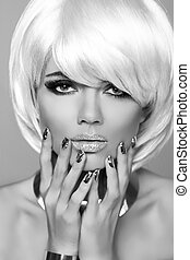 mode, blonds, girl., beauté, portrait, woman., blanc, court, hair., manucuré, nails., noir blanc, photo., fringe., vogue, style