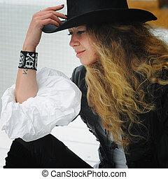 mode, bouclé, longs cheveux, portrait, modèle