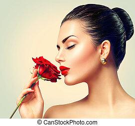 mode, brünett, modell, m�dchen, stehen porträt, mit, rot stieg, in, sie, hand