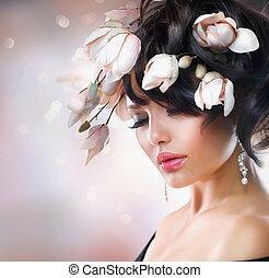 mode, brunette, meisje, met, magnolia, flowers., hairstyle