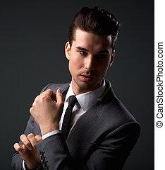 mode, business, poser, complet, modèle, mâle, beau