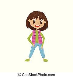 mode, caractère, illustration, dessin animé, vecteur, fond, blanc, agréable, girl, vêtements