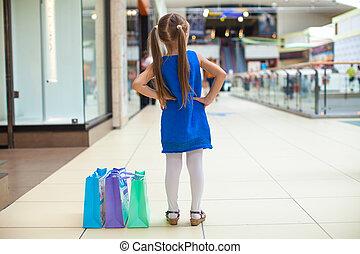 mode, centre commercial, dos, girl, paquets, vue
