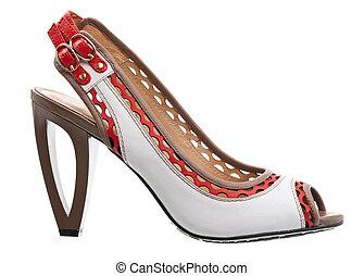 mode, chaussure, femme, isolé