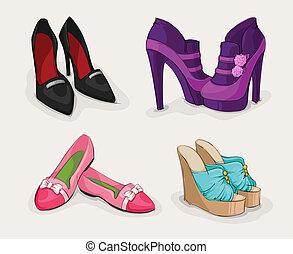 mode, chaussures, collection, femme