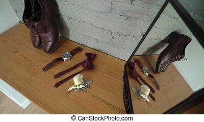 mode, -, chaussures, montre, homme, poignet, cravate, arc