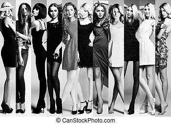 mode, collage., groupe, de, beau, jeunes femmes