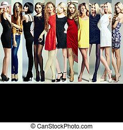 mode, collage., grupp, av, vacker, unga kvinnor