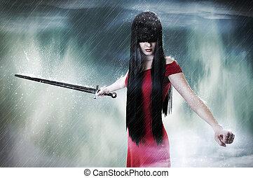 mode, combattant, jeune femme, joli, portrait