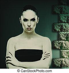 mode, conception abstraite, femme femelle, portrait, ton