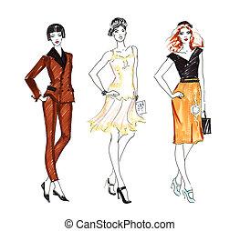 mode, croquis, de, trois, belle femme