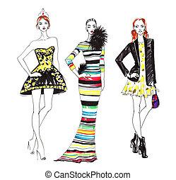 mode, croquis, de, trois, belles femmes