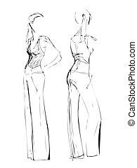 mode, croquis, freehand, noir blanc