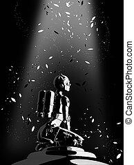 mode, cyborg, abbildung, hintergrund., frau, schwarz, 3d