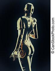 mode, cyborg, android., stilvoll, woman., zukunftsidee