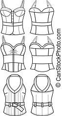 mode, dame, corset
