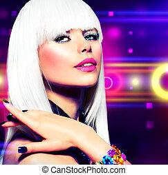 mode, disko, fest flicka, portrait., purpur, smink, och, vitt hår