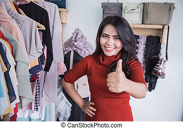 mode, duim, het tonen, op, kleine, eigenaar, winkel