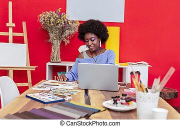 mode, elle, bureau, exposition, fonctionnement dur, concepteur, avant