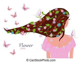 mode, elle, feuilles, cheveux, conception, girl, fleurs, ton