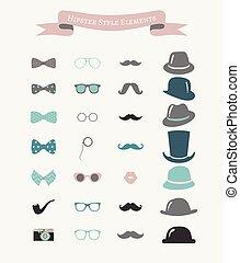 mode, ensemble, coloré, vendange, vecteur, hipster, retro, icône