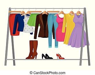 mode, färgrik, concept., hangers., tecknad film, kläder