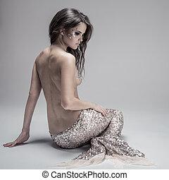 mode, fantasme, mermaid., studio, prise vue., gris,...