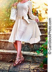 mode, femme, automne, printemps, stylishly, habillé, sur,...