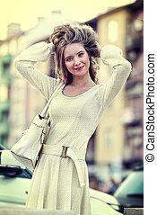 mode, femme, dans, automne, printemps, robe blanche, sur,...