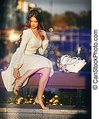 mode, femme, dans, automne, printemps, robe, bokeh, effet, .