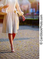 mode, femme, dans, autumn-spring, robe, sur, ville, rue.