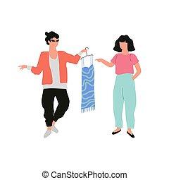 mode, femme, robe, homme, tenue, styliste