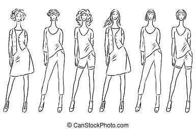 mode, femmes, été, collection, svelte, croquis, habillement