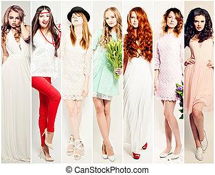mode, femmes, collage., beau, mannequin
