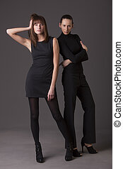 mode, femmes, dans, noir