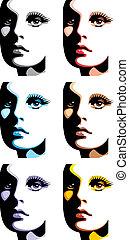 mode, filles, figure, différent, couleurs
