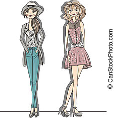 mode, filles, jeune, illustration