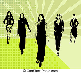 mode, filles, silhouettes