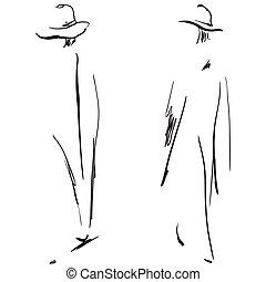 mode, filles, sketch.