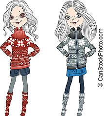 mode, filles, tricoté, vecteur, hipster, chandails