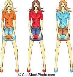 mode, filles, vecteur, sommet, modèles, beau