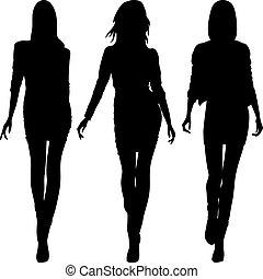 mode, filles, vecteur, sommet, modèles, silhouette